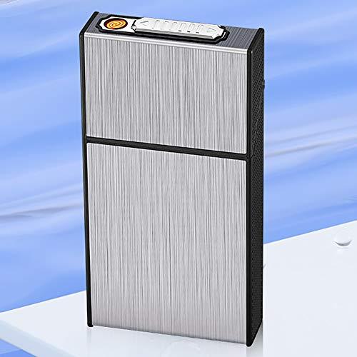 VIY Zigarettenetui Mit Feuerzeug, 2-In-1 Aluminium Zigarettenbox mit Elektronisches Integriertem Flammenlose Feuerzeug, Aufladbar Zigarettenschachtel(Schwarz),Silber