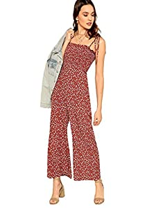 Floerns Women's Palm Leaf Print Shirred Back Button Cami Palazzo Jumpsuit Multicolor M