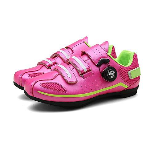 Sebasty Zapatillas de Ciclismo Sin Bloqueo para Hombre,Zapatillas de Deporte para Mujer,Zapatillas de Ciclismo Transpirables,Zapatillas Planas para Bicicleta de Carretera de Ocio,Purple-41