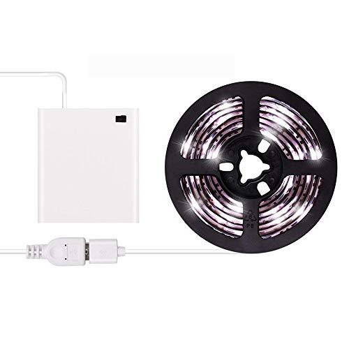 Tiras de luces LED USB o con pilas USB Juego de tiras de luz LED 3m / 9.8ft Impermeable Cinta de luz LED súper brillante Luz blanca fría
