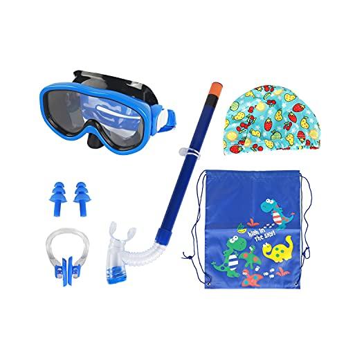 Runmeihe 5 pezzi Occhialini regolabili per Bambini MUTA da Sub con maschera nasale, boccaglio, antiappannamento e impermeabile, ampia Vista (Blue)
