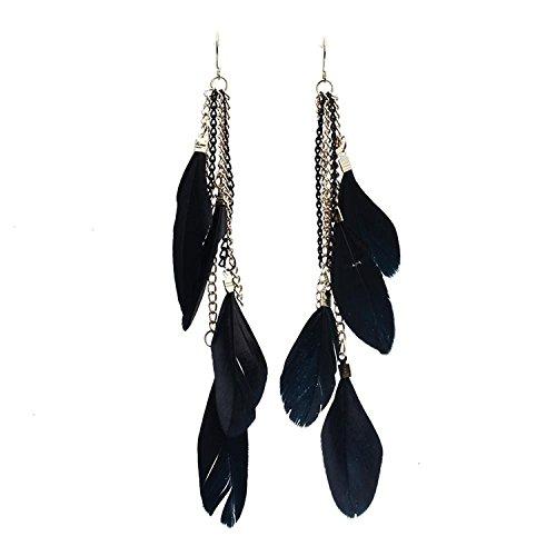 TOOGOO(R) - Pendientes de gancho de aleación con plumas de color negro