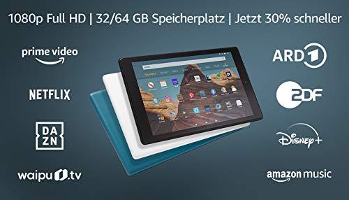 FireHD10-Tablet, Zertifiziert und generalüberholt, 64 GB, Dunkelblau – 10,1Zoll großes FullHD-Display (1080p), mit Spezialangeboten