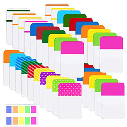 Norocme 900 Pieces Tabs Sticky Index Tabs,Writable and Repositionable File Tabs Flags Colored Page Markers Labels for Reading Notes, Books and Classify Files, 41 Sets (20 Colors,1 Inch)