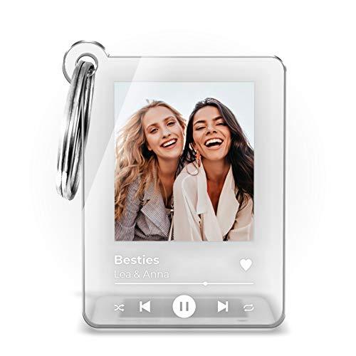 Schlüsselanhänger mit Foto und Song Cover Design   Schöne Geschenkidee für Freunde Partner Familie mit Namen oder Song Titel