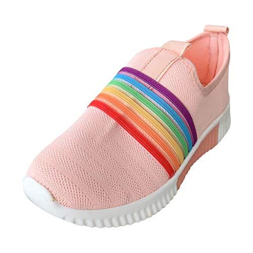 HWTOP Sportschuhe Damen Casual Rainbow Fliegende Turnschuhe aus Gewebtem Netz Mesh Laufschuhe Slip On Socken Schuhe Atmungsaktive Sport Sneakers, Rosa, 39.5 EU