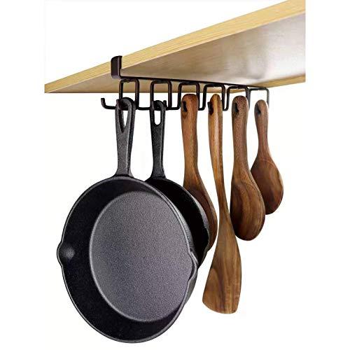 Ryori - Ganci senza chiodi, per riporre tazze, tazze, utensili da cucina, asciugamani, padelle in ferro resistente, per armadi, scaffali, armadi, arma