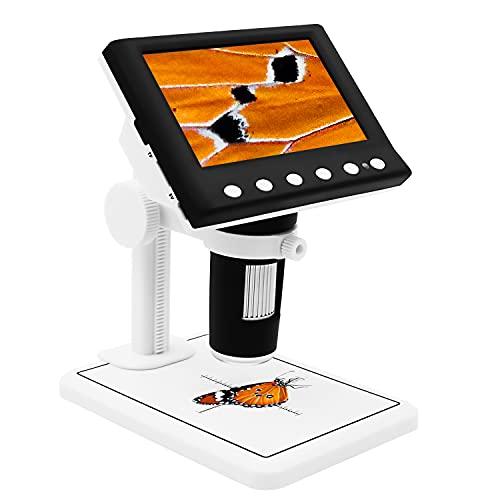 Digital Microscope 4.3' LED Screen Display 720P 10X-1000X Magnification Zoom Camera Video Recorder for Phone Repair Soldering Tool Jewelry Appraisal Biologic