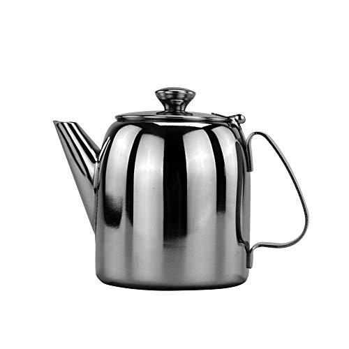 Tetera de acero inoxidable 304 con cuello de cisne de 900 ml, cafetera y cafetera, cafetera y cafetera de café o café con tapa para el hogar, barra de viaje, color plateado
