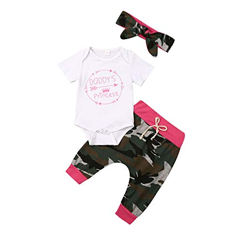 3Pcs Newborn Infant Baby Girls Boys Clothes Letter Printed Romper Bodysuit Camouflage Pants Headband Outfits Set (3-6 Months, Rose Red)