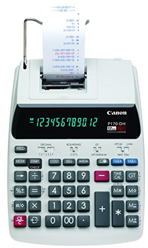 Canon Office Products 2204C001 Canon P170-DH-3 Desktop Printing Calculator with Currency Conversion, Clock & Calendar, and Time Calculation, Black/White/Silver, 14.60 Inch x 9.60 Inch x 3.00 Inch