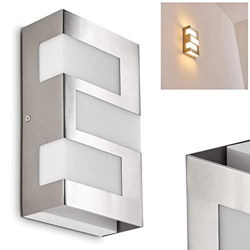 LED Außenwandleuchte Lannion, Wandlampe aus Metall in Chrom, Gartenbeleuchtung 3 x 2,5 Watt, 540 Lumen, 3000 Kelvin (warmweiß), moderne Wandleuchte mit Up&Down-Effekt, IP44