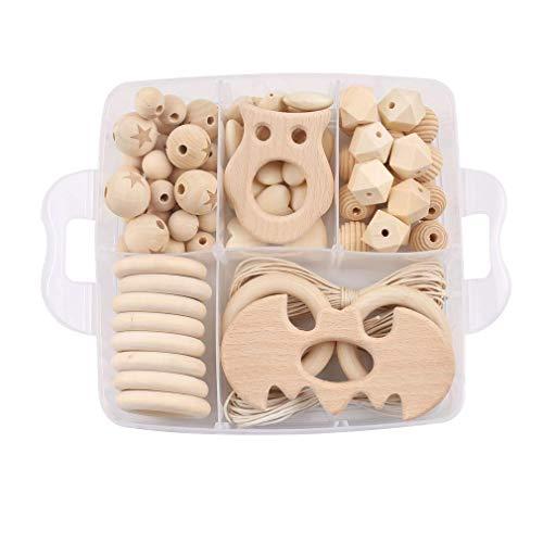 Mamimami Home Bébé en bois anneau de dentition animal hochet organiques perles au crochet collier bricolage bracelet à croquer bébé douche cadeau jouets de dentition
