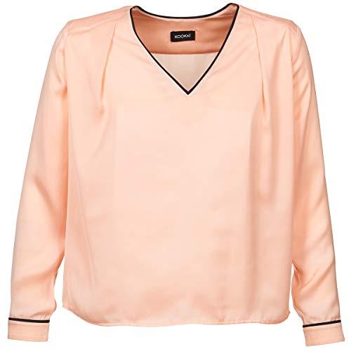 KOOKAI Damen Bluse Mikrofaser Blusenshirt Unifarben, Größe: 40, Farbe: Rosa