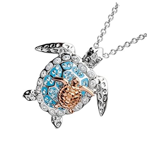 Holibanna Tortuga de Mar Collar Colgante Cadena de Clavícula de Diamantes de Imitación Animal Océano Joyería para Mujeres Regalos de Cumpleaños Niñas Fiesta de Playa de Oro