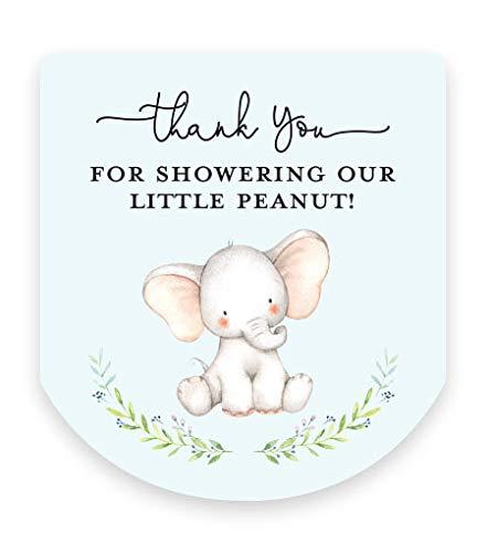 Baby Shower Hand Sanitizer Favor Stickers - Set of 60 Labels (Elephant on Blue)