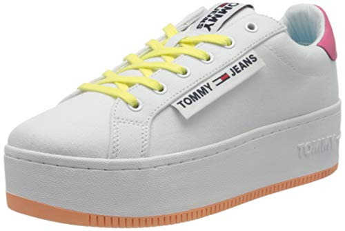 Tommy Jeans Damen Oversized Label ICON Sneaker, Weiß (White/Blush Red/Melon Orange 0k4), 39 EU
