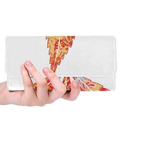 Einzigartige helle Blumen-Marihuana-Blatt-Frauen-dreifachgefaltete Mappen-Lange Geldbeutel-Kreditkarte-Halter-Fall-Handtasche
