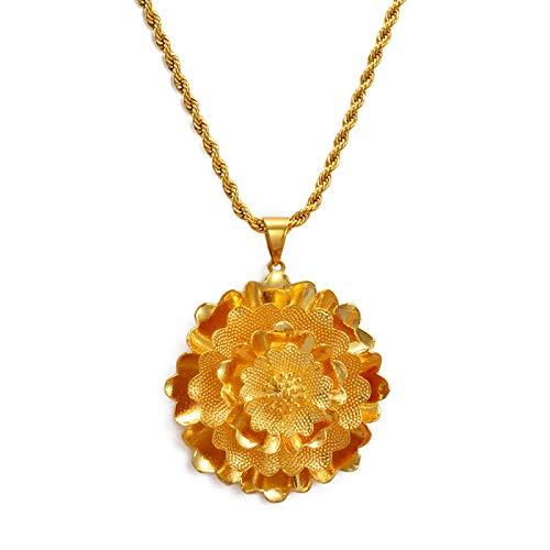 Colgante y collares de flores grandes para mujer, color dorado y base de cobre, joyería africana, regalo de fiesta