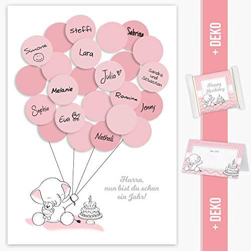 Mia Félice Erster Geburtstag Gästebuch, 1. Geburtstag Geschenk Elefant Mädchen in rosa Deko, Dekoration, Gastgeschenk, Andenken, Idee, Glückwünsche, Erinnerungsstück, 1ster Geburtstag, Happy Birthday