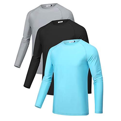 Sykooria 3 Piezas Camisetas Manga Larga Hombre Deporte UPF 50+ Protección Solar UV,Secado Rápid Top Transpirable Shirt Camiseta Cuello Redondo para Correr Trotar Fitness Ciclismo Entrenamiento Casual