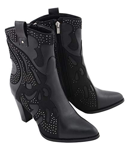 Milwaukee Performance MBL9429 Womens Black Western Style Boots with Studded Bling - 11