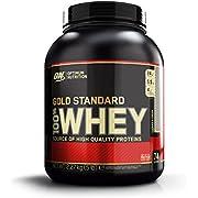 Optimum Nutrition Gold Standard Whey Eiweißpulver (mit Glutamin und Aminosäuren, Protein Shake von ON), Cookies und Cream, 68 Portionen, 2.27kg