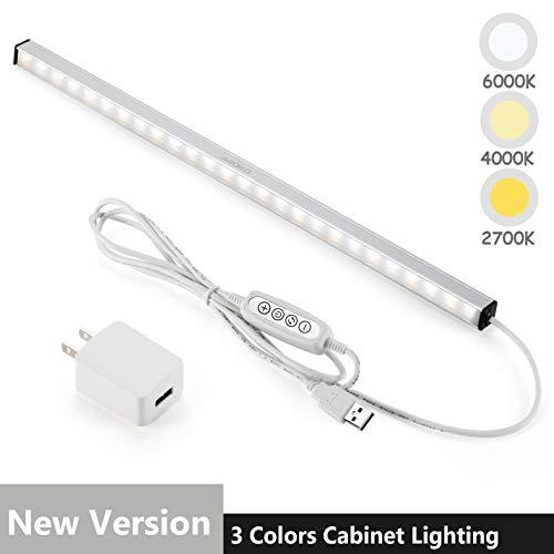 LED下方的橱柜照明条内置磁铁,可调光,3色温,14.5英寸,USB供电的柜台照明条,LED壁橱灯。(UL插头)