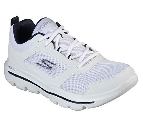 Skechers Men's GO Walk Evolution Ultra-Enhance Sneaker, White/Navy, 10.5 M US