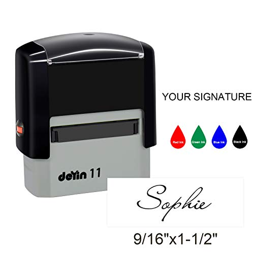Signature Stamps Self Inking Personalized,38x14mm Custom Signature Stamp for Signing Name for Checks,Business,Office,File,Deposit