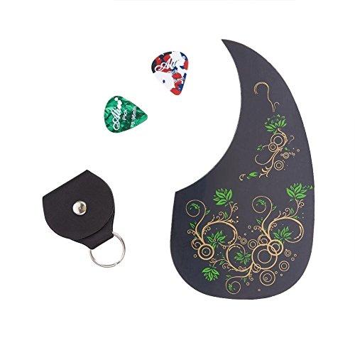 WANDIC - Protector de púas para guitarra acústica, diseño floral, antiarañazos, forma de gota de coma, con llavero, funda para púa de guitarra y 2 púas