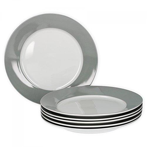 Van Well 6er Set Frühstücksteller Serie Vario Porzellan - Farbe wählbar, Farbe:grau