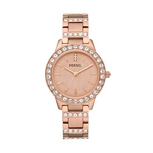 Fossil Relógio feminino de quartzo Jesse de aço inoxidável com detalhes em cristais, Ouro rosa, Standard
