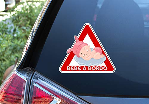 Pegatina Vinilo Bebe a Bordo, Baby on Board, Nube. Adhesivo vinilo para coche. (Niña 16x18cm)