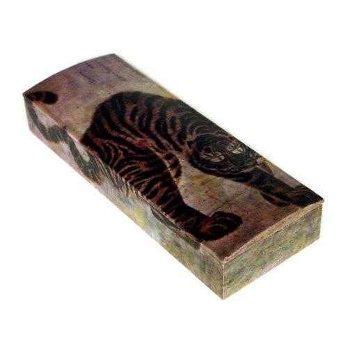 Boîte à Crayon Nacre Déco Tigre Corée Antique Collection Dynastie Joseon RARE