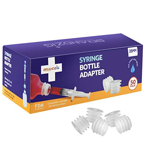 Medicine Bottle Syringe Adapter for Oral Dispensers (28mm, 50 Pack) | Press in Bottle Adapter for Liquid Medication | Only Fits Brandzig 1ml, 3ml, 5ml & 10ml Syringes