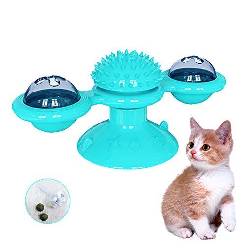 PTN Juguetes interactivos para Gatos, Juguete de Gato Giratorio Ventosa para Cosquillas y Limpieza de Dientes, con Bola Brillante Giratoria y Hierba Gatera para Gatos