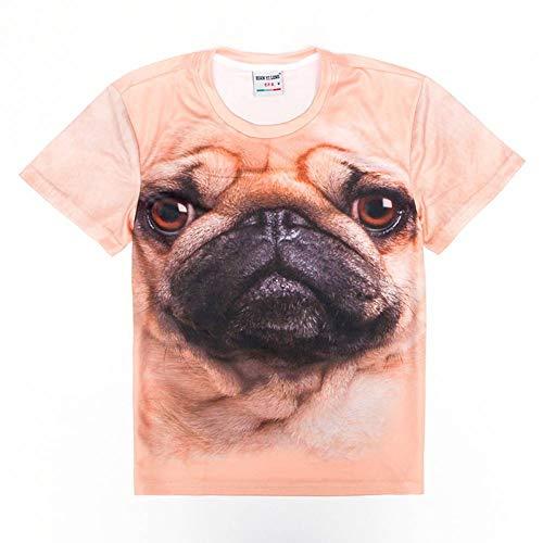 RCFRGV 3D Camiseta de Verano de los Hombres de Gran tamaño Camiseta 3D Pug Dog impresiónPersonalizada Ocasional Divertido ModaMangaCorta Camisa