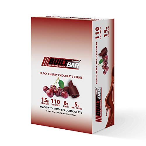 Built Bar 18 Pack Energy and Protein Bars - 100% Real Chocolate - High in Whey Protein and Fiber - Gluten Free, Natural Flavoring, No Preservatives (Black Cherry)