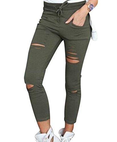 ISSHE Pantalones Rotos Mujer Pantalon Skinny Slim Mujer Jeggings Leggins Push Up Señora Leggings Yoga Polainas Chandal Mallas Fitness Deporte Pantalones Deportivos Elasticos Mujer