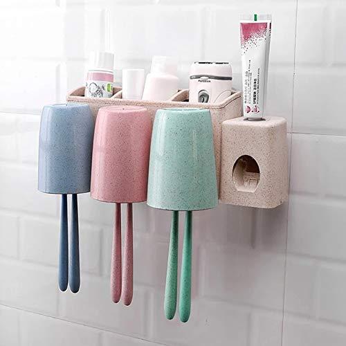 Portaspazzolino da parete con dispenser di dentifricio senza foratura, 3 bicchieri in plastica, 3 scomparti, multifunzione, per bambini e famiglie