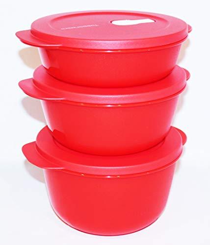 Tupperware Crystalwave Mikrowellenschüsseln für 4,25, 6,25 und 8,5 Tassen, Rot, 3 Stück