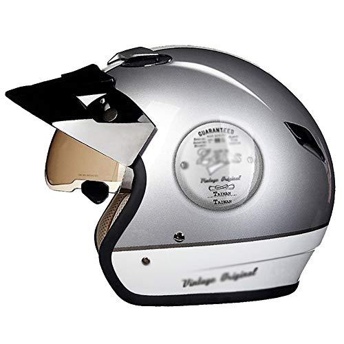 HongTong Cascos Casco de la Motocicleta, con Gafas de Sol, Medio Casco, Casco Retro, ventilado y Transpirable, Opcionales (Color : Silver, Size : Large)
