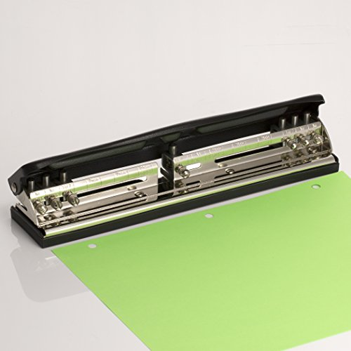 Officemate Adjustable 2-7 Hole Punch. Includes 7 Punch Heads. Punches 5-11 Sheet Capacity, Black with Chrome Trim (90070)