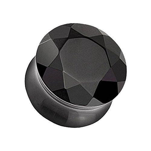 Piercingfaktor Ohr Plug Flesh Tunnel Piercing Ohrpiercing Organic Achat Stein geschliffen Schwarz 5mm