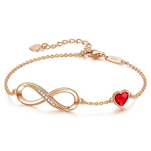 CDE Infinity Heart Symbol Charm Bracelet for Women 925 Sterling Silver Adjustable ChristmasJewelry Gift Birthday Gift for Mom Women Wife Girls Her