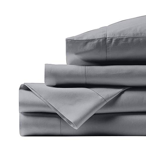 Bishop Cotton 100% Egyptian Cotton King Size Bed Sheets 800 Thread Count Silver Grey 4 Piece Luxury Hotel Quality Sheet Set Italian Finish Premium Sheets Long Staple Fits Up to 16 Inch Deep Pocket