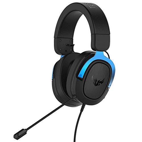ASUS TUF Gaming H3 - Auriculares Compatible con PC, Mac, PS4, Nintendo Switch, Xbox One y teléfonos móviles, con sonido envolvente 7.1, graves potentes, diseño ligero, azul