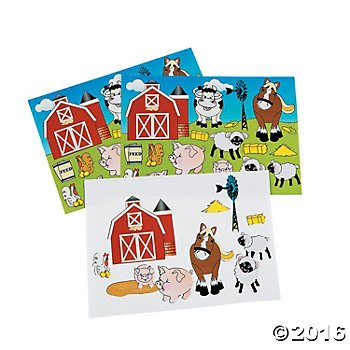 2 Dozen (24) Make a FARM ANIMAL Sticker Sheets - Barn Scenes - COW HORSE PIG - Teacher CLASSROOM Doctor Dentist DAYCARE Party Favors