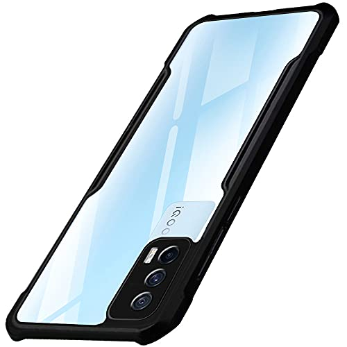 TheGiftKart Shockproof Crystal Clear iQOO 7 5G Back Cover Case   360 Degree Protection   Protective Design   Transparent Back Cover Case for iQOO 7 5G (Black Bumper)